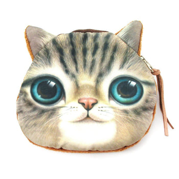 Realistic Kitty Cat Tabby Face Shaped Soft Fabric Zipper Coin Purse Make Up Bag with Green Eyes | DOTOLY