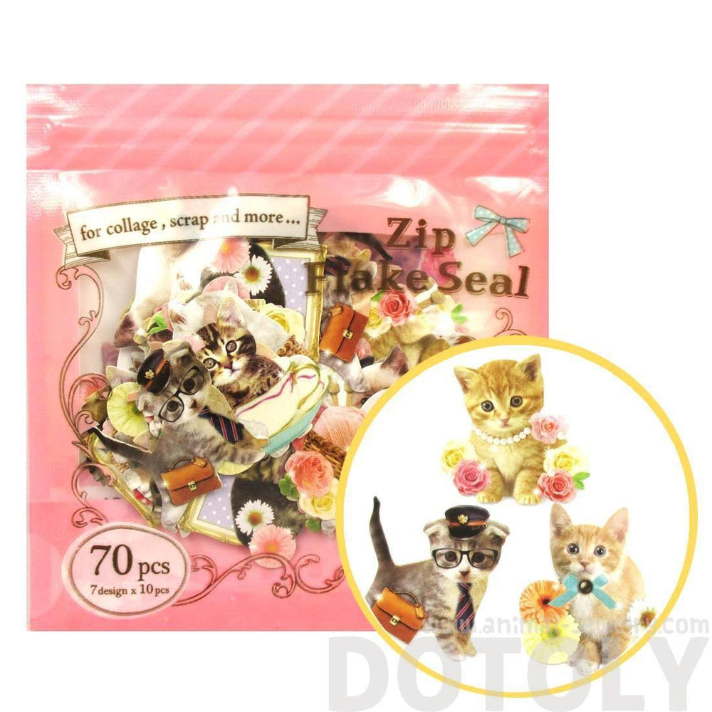 Realistic Kitty Cat Themed Photo Sticker Flake Seals From Japan | 70 Pieces | DOTOLY