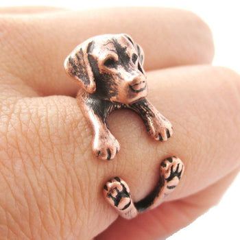 Realistic Labrador Retriever Shaped Animal Wrap Ring in Copper | Sizes 4 to 8.5 | DOTOLY