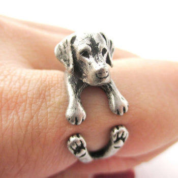 Realistic Labrador Retriever Shaped Animal Wrap Ring in Silver | Sizes 4 to 8.5 | DOTOLY