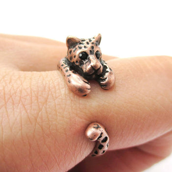 Realistic Leopard Jaguar Shaped Animal Wrap Around Ring in Copper | US Sizes 4 to 9 | DOTOLY