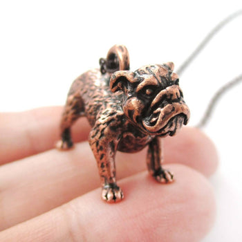 Realistic Life Like Bulldog Shaped Animal Pendant Necklace in Copper | Jewelry for Dog Lovers | DOTOLY