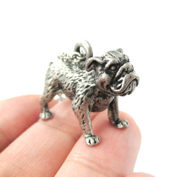 Realistic Life Like Bulldog Shaped Animal Pendant Necklace in Silver | Jewelry for Dog Lovers | DOTOLY
