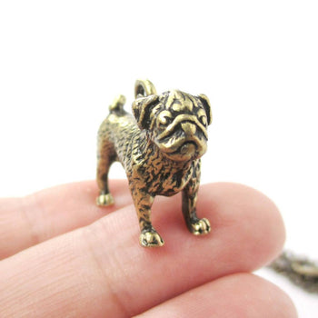 Realistic Life Like Pug Shaped Animal Pendant Necklace in Brass | Jewelry for Dog Lovers | DOTOLY
