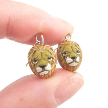 Realistic Lion Face Shaped Porcelain Ceramic Animal Dangle Earrings | Handmade | DOTOLY
