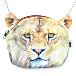 Realistic Lion Face Shaped Soft Fabric Zipper Photo Print Cross Body Shoulder Sling Bag | DOTOLY