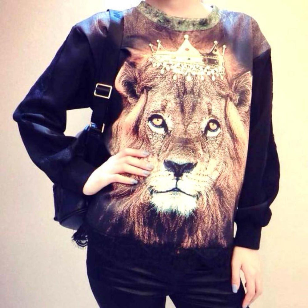 Realistic Lion Graphic Print Long Sleeve Pullover Sweater with Lace Detail in Black | DOTOLY