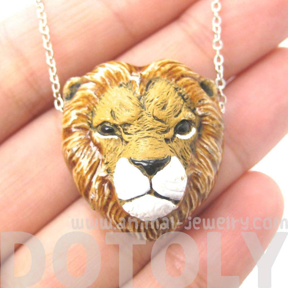 Realistic Lion Head Shaped Porcelain Ceramic Animal Pendant Necklace | Handmade | DOTOLY