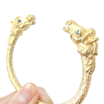 Realistic Luxe Horse Head Shaped Wrap Around Bangle Bracelet Cuff in Gold | Animal Jewelry | DOTOLY