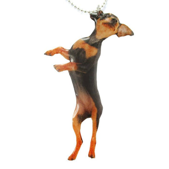 Realistic Miniature Pinscher Puppy Dog Jumping Shaped Pendant Necklace | Handmade | DOTOLY