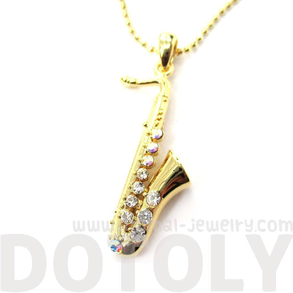 Realistic Miniature Tenor Saxophone Musical Instrument Shaped Pendant Necklace in Gold | DOTOLY