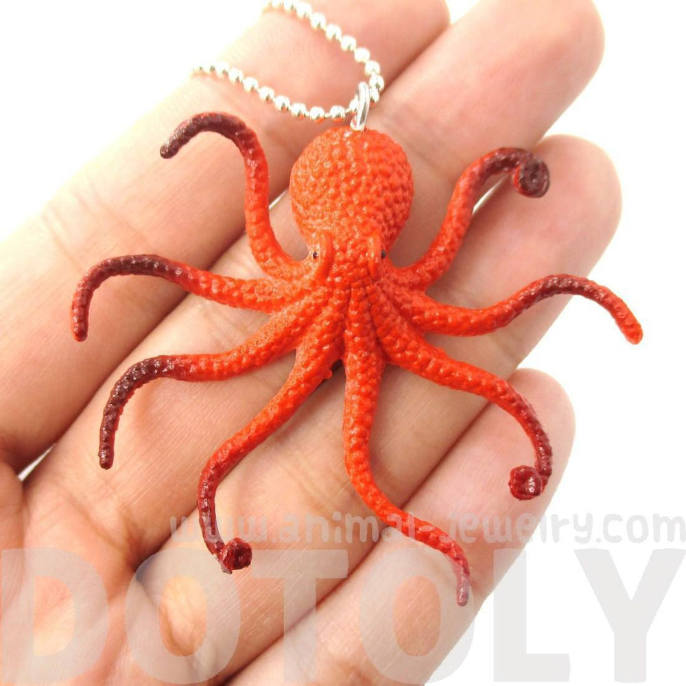 Realistic Octopus Shaped Animal Figurine Pendant Necklace in Orange | Animal Jewelry | DOTOLY