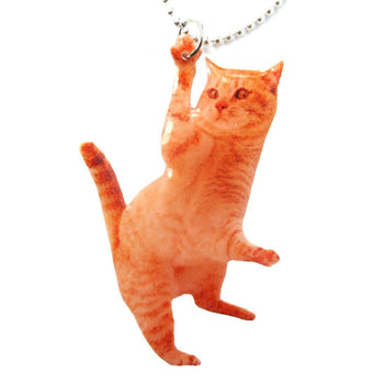 Realistic Orange Tabby Kitty Cat Shaped Dangling Pendant Necklace | Handmade | DOTOLY