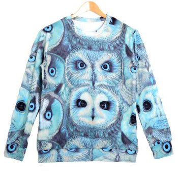 Realistic Owl Face Collage Graphic Print Pullover Sweatshirt Sweater in Blue | DOTOLY