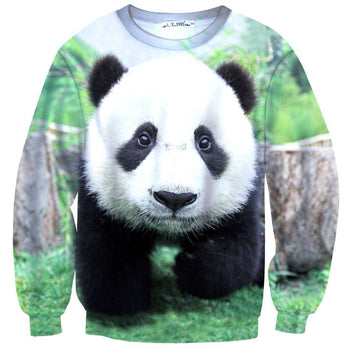 Realistic Panda Bear Face All Over Digital Print Sweatshirt Sweater | DOTOLY