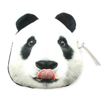Realistic Panda Bear Face Shaped Soft Fabric Zipper Photo Print Coin Purse Make Up Bag | DOTOLY
