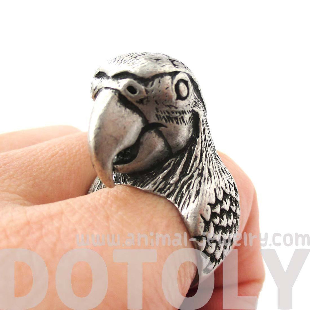 Realistic Parrot Bird Shaped Animal Wrap Around Ring in Silver | Sizes 6 to 10 Available | DOTOLY