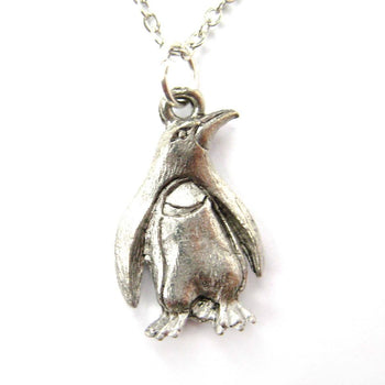 Realistic Penguin Bird Shaped Animal Charm Necklace in Silver | MADE IN USA | DOTOLY