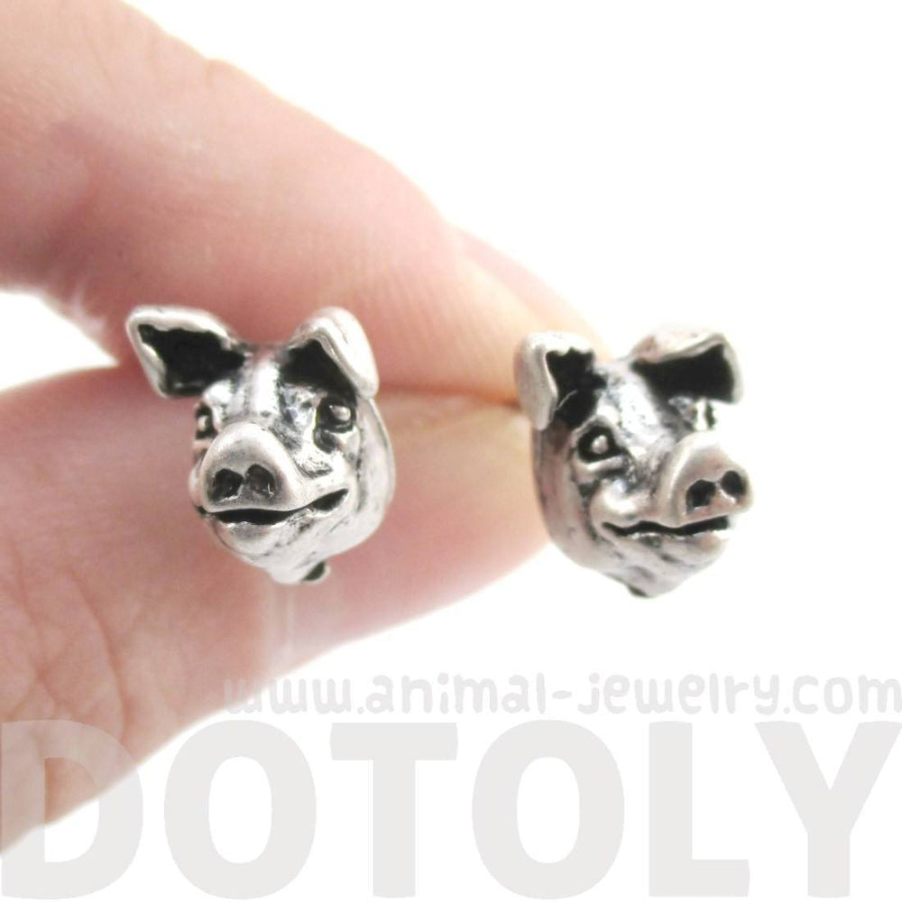 Realistic Piglet Pig Face Shaped Stud Earrings in Silver | Animal Jewelry | DOTOLY