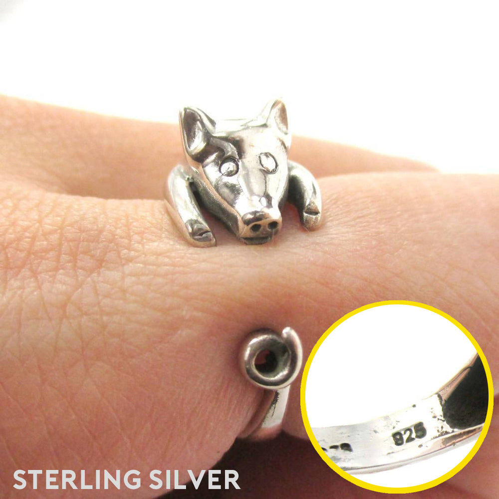 925 Sterling Silver 3D Miniature Pig Shaped Animal Ring Allergy Free DOTOLY