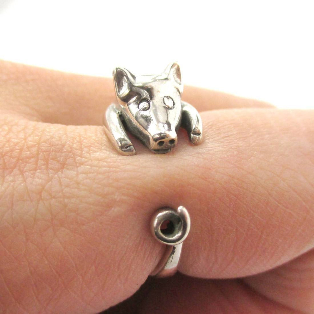 Realistic Piglet Shaped Animal Wrap Around Ring in 925 Sterling Silver | US Sizes 3 to 8 | DOTOLY
