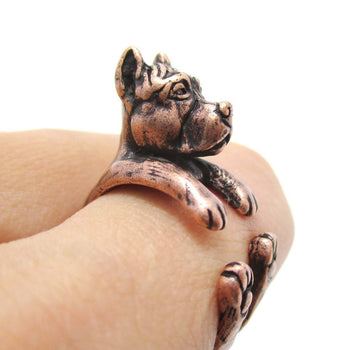 Realistic Pit Bull With Cropped Ears Shaped Animal Wrap Ring in Copper | Sizes 5 to 9 | DOTOLY