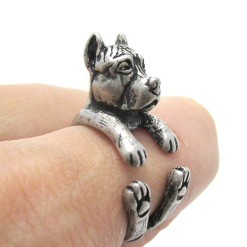 Realistic Pit Bull With Cropped Ears Shaped Animal Wrap Ring in Silver | Sizes 5 to 9 | DOTOLY