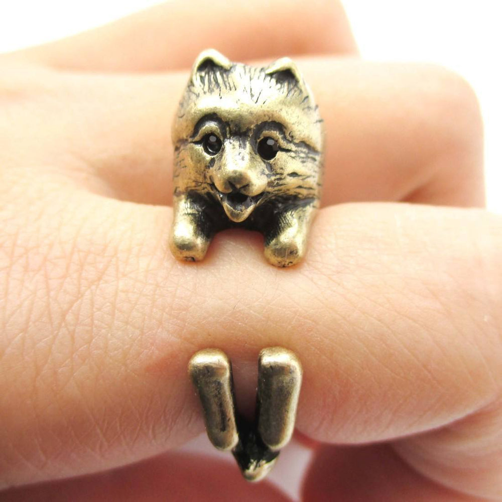 Realistic Pomeranian Pom Puppy Dog Shaped Animal Wrap Around Ring in Brass | US Sizes 4 to 8.5 | DOTOLY