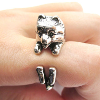 Realistic Pomeranian Pom Puppy Dog Shaped Animal Wrap Around Ring in Shiny Silver | DOTOLY