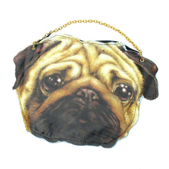Realistic Pug Face Shaped Vinyl Animal Dog Photo Print Cross Body Bag