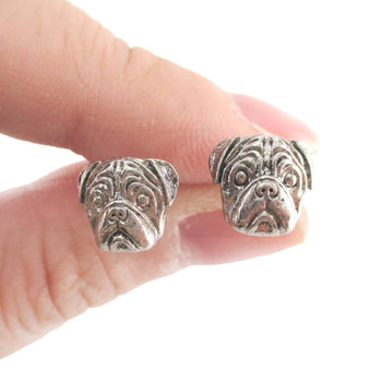 3D Pug Puppy Dog Face Shaped Stud Earrings in Silver