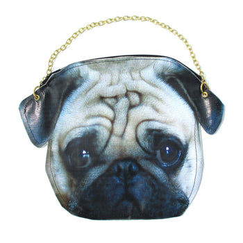 Pug Puppy Dog Head Shaped Vinyl Animal Photo Print Cross Shoulder Bag