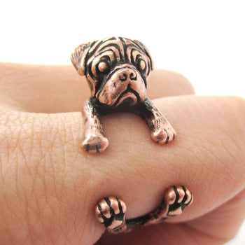 3D Pug Puppy Dog Shaped Animal Ring in Copper | DOTOLY