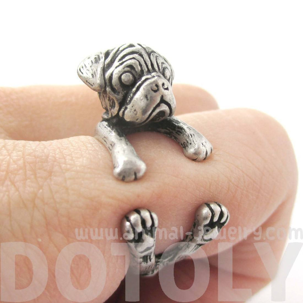 Pug Puppy Dog Shaped Animal Wrap Ring in Silver | DOTOLY