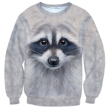 Realistic Raccoon Face All Over Print Unisex Sweater