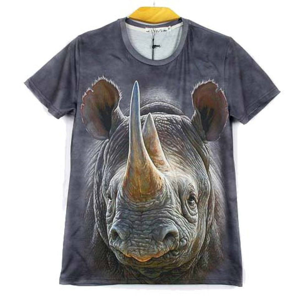 Realistic Rhino All Over Photo Graphic Print T-Shirt