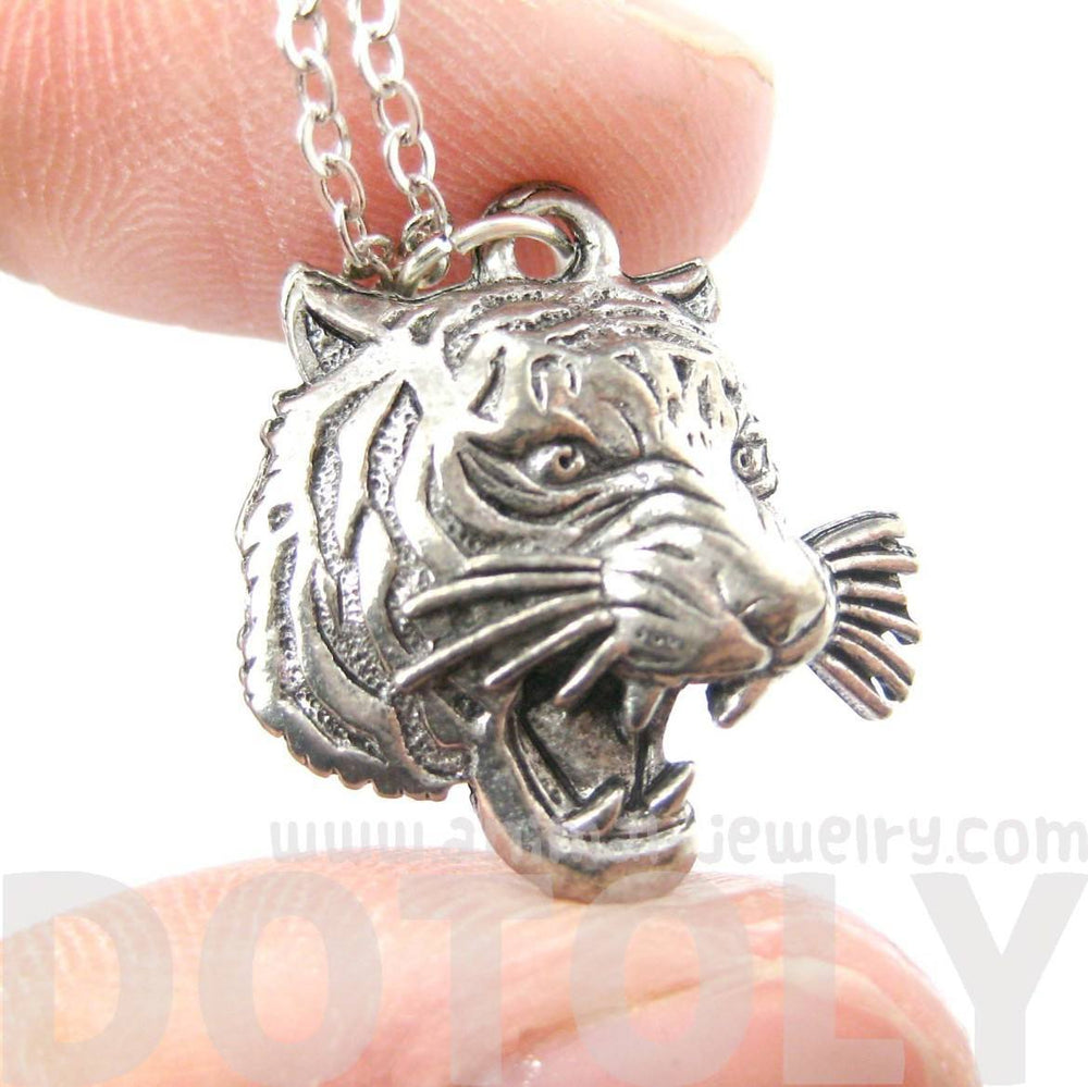 Realistic Roaring Tiger Head Face Shaped Charm Necklace | MADE IN USA