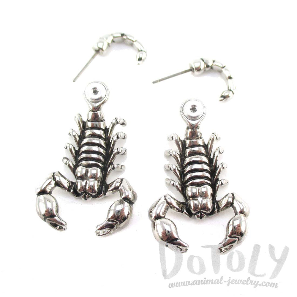 Scorpion Insect Shaped Front and Back Stud Earrings in Shiny Silver