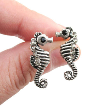 Realistic Seahorse Shaped Rhinestone Earrings in Silver