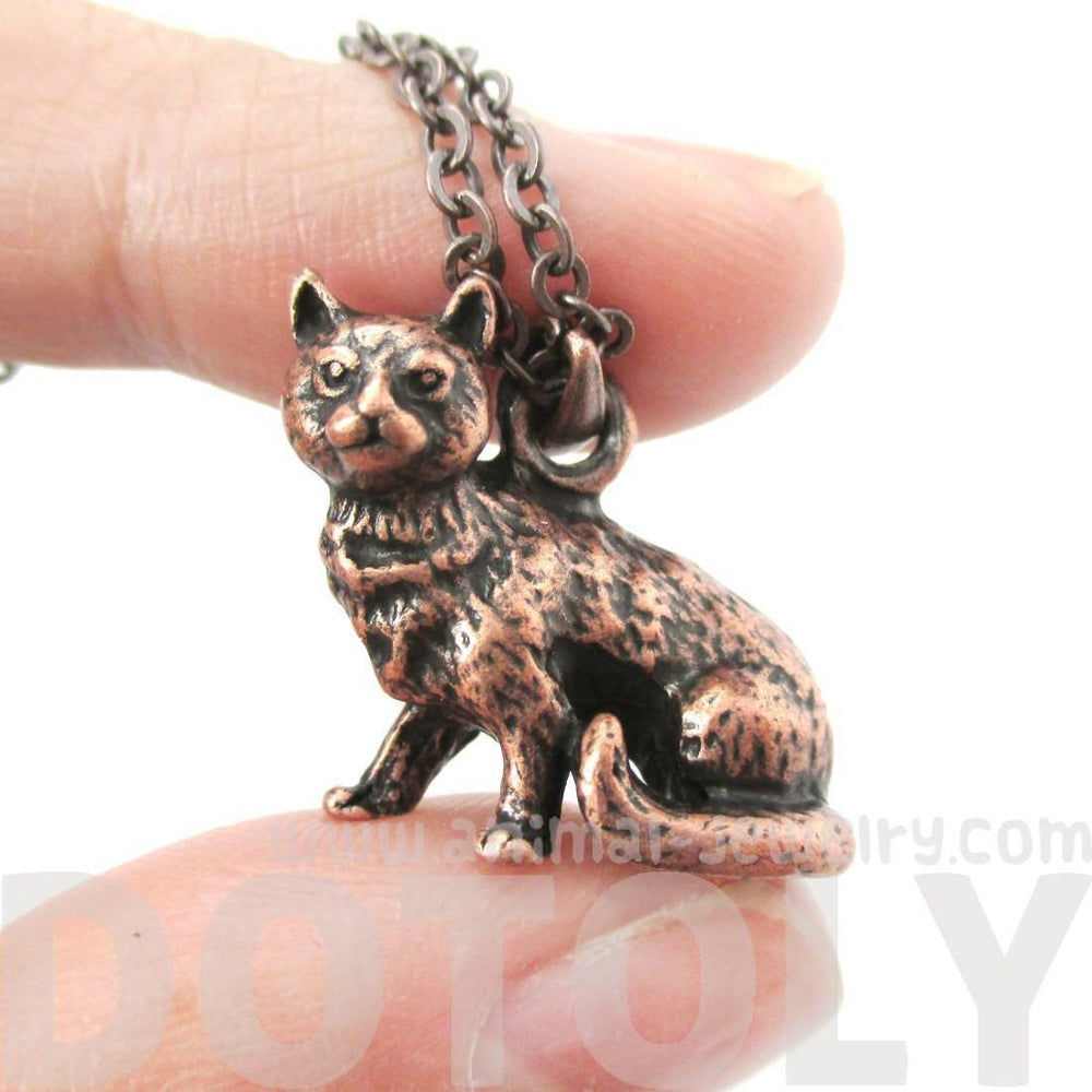 Realistic Short Hair Kitty Cat Shaped Animal Charm Necklace in Copper