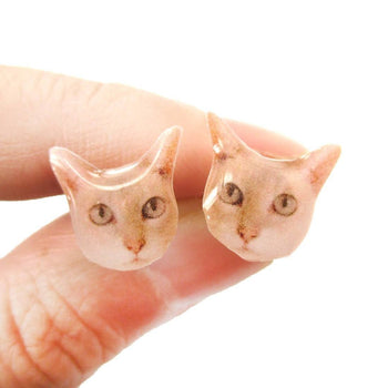 Realistic Shorthair Kitty Cat Face Shaped Animal Resin Stud Earrings