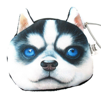 Realistic Siberian Husky Puppy Face Shaped Soft Fabric Coin Purse