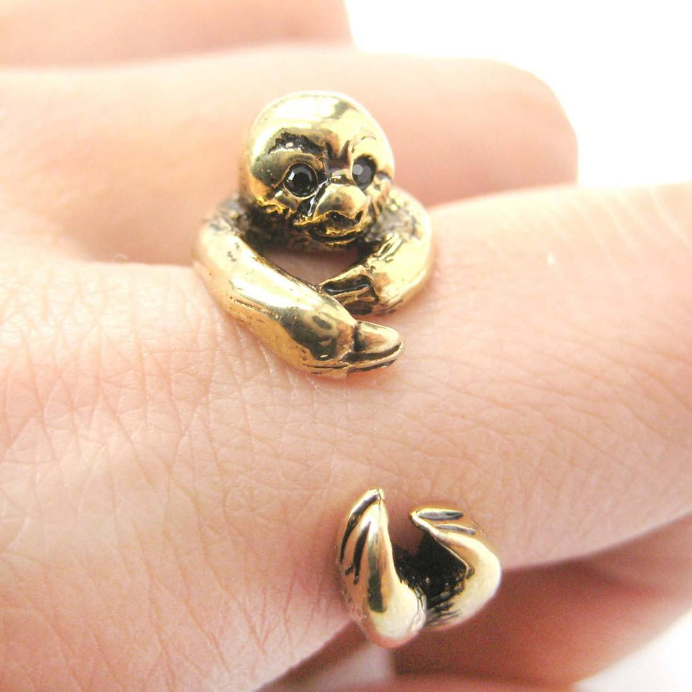 Realistic Sloth Shaped Animal Wrap Around Hug Ring in Shiny Gold