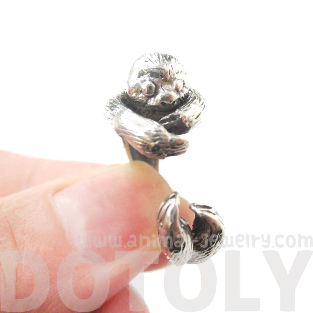 Realistic Sloth Shaped Animal Wrap Around Ring in 925 Sterling Silver
