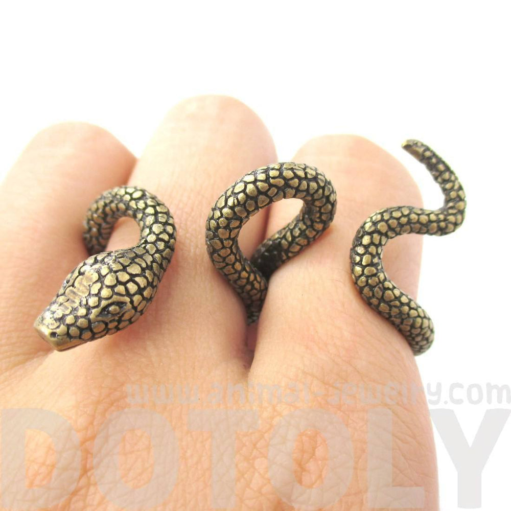 Realistic Snake Shaped Double Duo Finger Adjustable Ring in Brass
