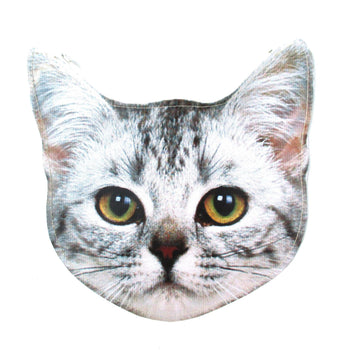 Tabby Kitty Cat Head Shaped Vinyl Animal Photo Print Clutch Bag