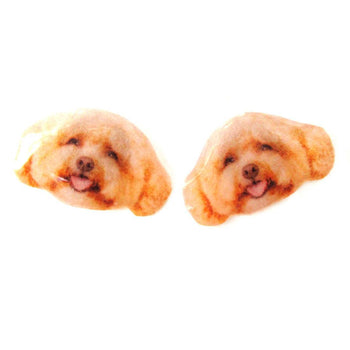 Realistic Toy Poodle Head Shaped Animal Dog Breed Resin Stud Earrings