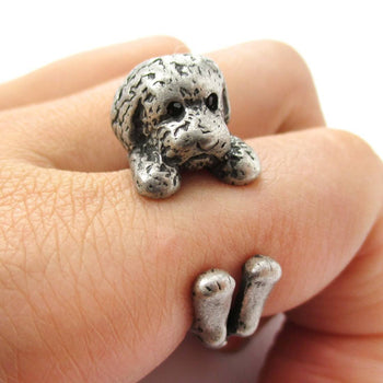 Realistic Toy Poodle Puppy Dog Shape Animal Wrap Around Ring in Silver