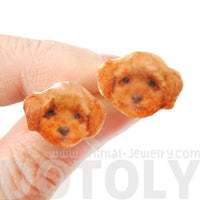 Realistic Toy Poodle Puppy Head Shaped Animal Resin Stud Earrings