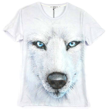 Realistic White Wolf Face Unisex Graphic Tee | DOTOLY